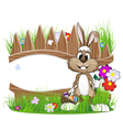 Easter bunny with egg basket vector image