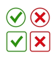 Green checkmark OK and red X icons vector image