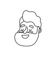 line avatar happy man face with hairstyle design vector image