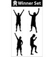 Winner silhouette set vector image
