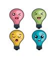 bulb light character icon vector image