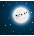 Santa Claus goes to sled reindeer of the moon vector image