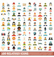 100 relatives icons set flat style vector image