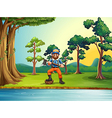 A lumberjack at the riverbank holding an axe vector image vector image