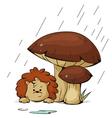 hedgehog in the rain vector image