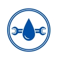 round icon with water drop and wrench vector image