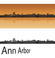 Ann Arbor skyline in orange background vector image