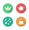 Tea flat design icons set vector image