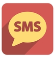 SMS Flat Rounded Square Icon with Long Shadow vector image