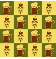 Beer mugs and hop seamless pattern vector image