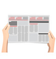 business man hands holding newspaper vector image