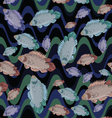 Fish and wave seamless pattern vector image