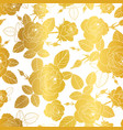 gold and white roses and leaves drawing vector image