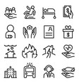 insurance icon set in thin line style vector image