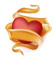 realistic heart elegant silk satin ribbon vector image