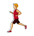 running man in red jersey profile side view vector image