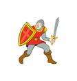 Medieval Knight Shield Sword Standing Cartoon vector image vector image