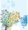 Floral background with watercolor elements vector image