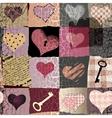 Retro hearts patchwork vector image