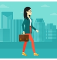 Business woman walking with briefcase vector image