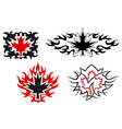 Maple leaves emblems and symbols vector image