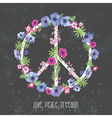 Peace Hippie Symbol with Flower on the white vector image vector image