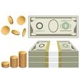 Cash coins bills vector image