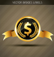 dollar sign on golden label vector image