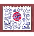 doodle strategic business icons vector image