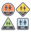 Restroom symbols set flat signs retro color vector image
