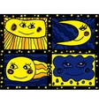 Sun and Moon doodle pattern vector image