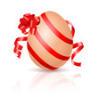 single easter egg with red ribbon on white vector image