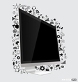Computer display with application icon vector image