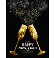 Happy new year 2016 toast glass low polygon gold vector image