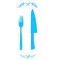 Blue chef knife and fork crossed in vector image