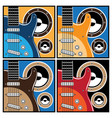 Colorful guitar and speaker systems vector image