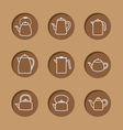 Flat Design Kettles Icon Set vector image