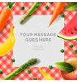 Fresh vegetables and fruits on the tablecloth vector image