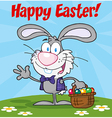 Gray Happy Easter Bunny Carrying A Basket Of Eggs vector image
