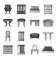 Furniture and home interior set icons in vector image