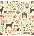 Retro seamless pattern of dog icons Endless vector image