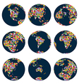 World globes with continents made of world flags vector image vector image