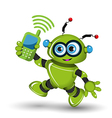 Robot with telephone vector image vector image