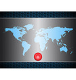 World map over metallic silver plate with scary vector image