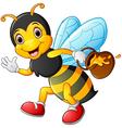 cartoon bee holding pot of honey vector image