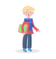 cute boy with gift flat icon vector image