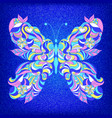 embroidered colorful butterfly vector image
