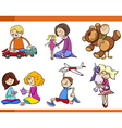 kids with toys cartoon set vector image