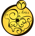 stylized zodiac signs in a yellow circle aries vector image vector image