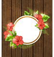 Round banner with red tropical flowers vector